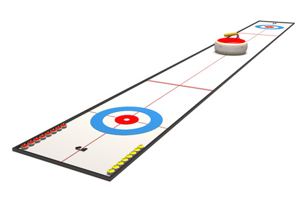Sports ground for curling on white background (3d illustration).