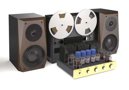 Vintage tube amplifier, reel tape recorder and loudspeakers on white background (3d illustration). Stock Photo