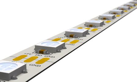 Modern LED strip on white background (3d illustration).