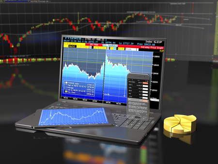 Laptop, tablet and smartphone with business applications on financial exchange background (3d illustration).