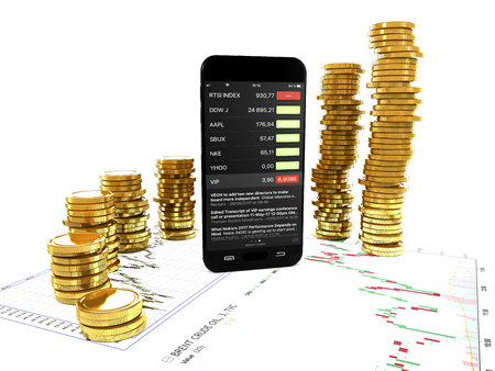 Smartphone and gold coins as a concept of success in virtual business (3d illustration).