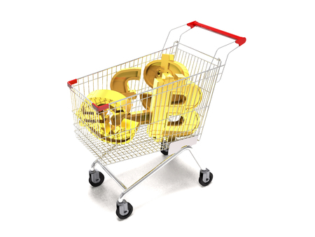 Shopping cart and gold currency signs on white background (3d illustration). Stock Photo