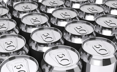 Rows of beer cans (3d illustration). Stock Photo
