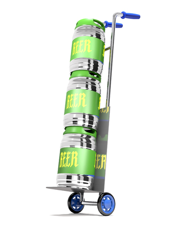 Truck with beer kegs on white background (3d illustration).