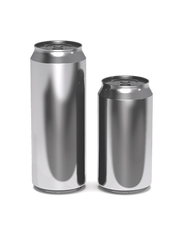 Large and small beer cans on white background (3d illustration). Stock Photo