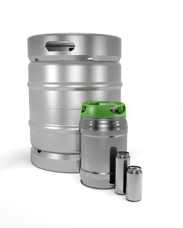 Beer kegs and cans on white background (3d illustration).