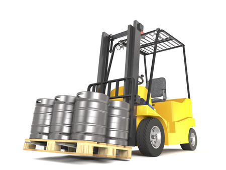 Forklift with pallete of beer kegs on white background (3d illustration). Stock Photo