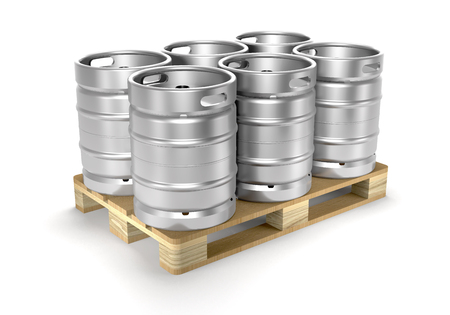 Beer kegs and storage pallet on white background (3d illustration).