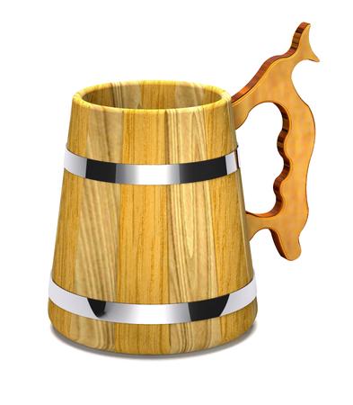 Vintage wooden beer mug on white background (3d illustration). Stock Photo