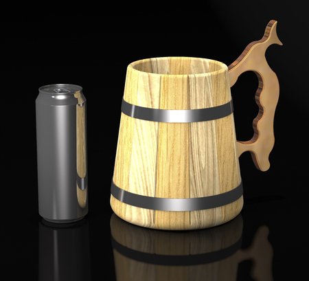 Vintage wooden beer mug and beer can on dark background (3d illustration). Stock Photo