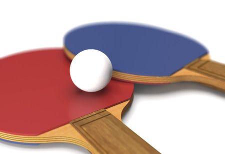 Rackets and ball for table tennis on white background (3d illustration). Standard-Bild