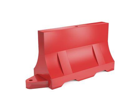 Water-filled red plastic road barrier on white background (3d illustration). Standard-Bild