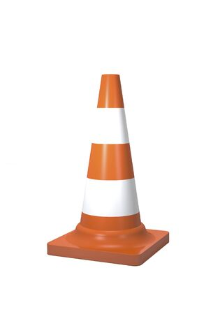 Traffic cone for fencing repair work on a white background (3d illustration).