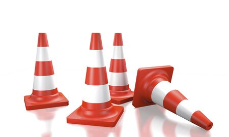 Traffic cones for fencing repair work on a white background (3d illustration).