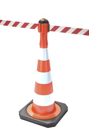 Traffic cone with stop tape on white background (3d illustration).