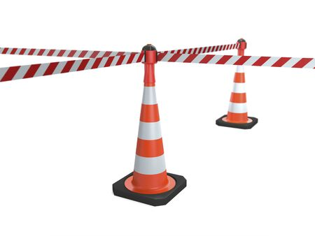 Traffic cones with stop tapes on white background (3d illustration).