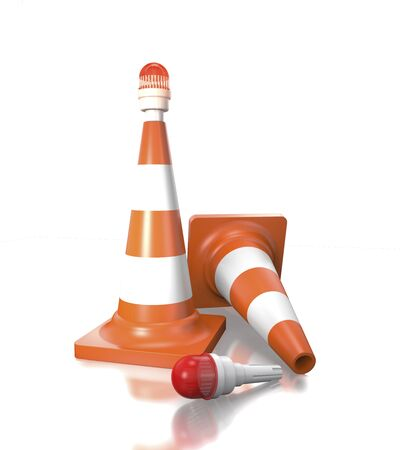 Traffic cones with stop lantern on a white background (3d illustration).