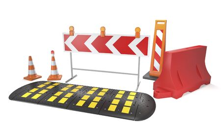 Fencing equipment for road and construction works on white background (3d illustration)