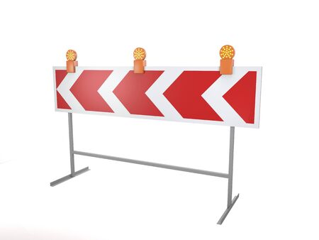 Bypass stripped barrier with red warning lamps on white background (3d illustration)