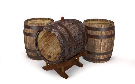 Vintage wooden barrels for liquids on white background (3d illustration).