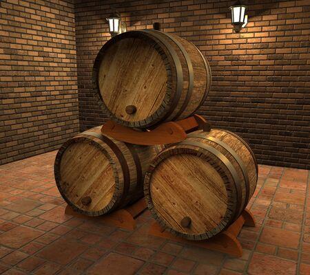 Old vintage wine barrels in the basement (3d illustration). Standard-Bild