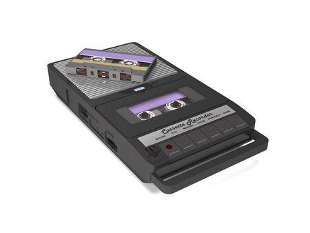 Vintage analog tape recorder with audio cassettes on white background (3d illustration). Standard-Bild