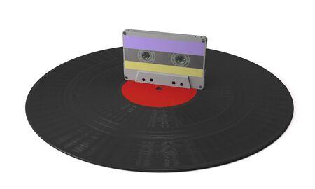 Vinyl gramophone disc and audio cassette on white background (3d illustration).