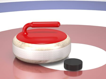 Curling stone and hockey puck on game ice (3d illustration). Standard-Bild