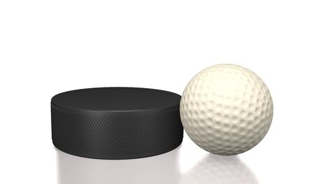 Hockey puck and golf ball on ice (3d illustration).