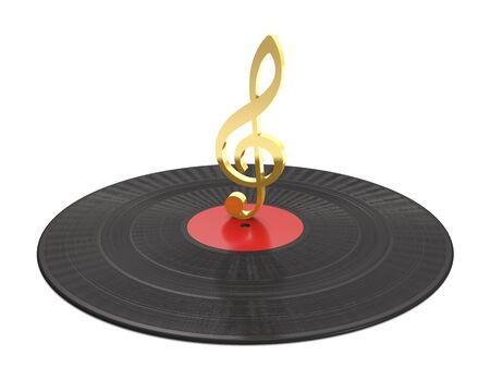 Vinyl record and golden treble clef on white background (3d illustration). Standard-Bild