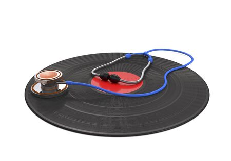 Vinyl record and medical stethoscope on white background (3d illustration). Standard-Bild
