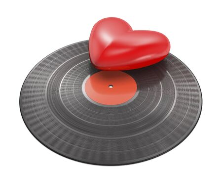 Vinyl record with red label and red heart on white background (3d illustration).