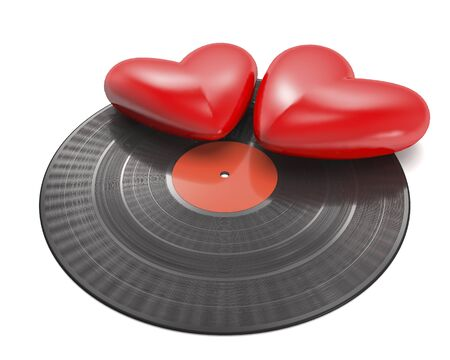 Vinyl record with red label and two red hearts on white background (3d illustration).