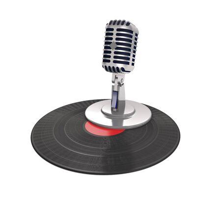 Vinyl record and vintage microphone on white background (3d illustration). Standard-Bild
