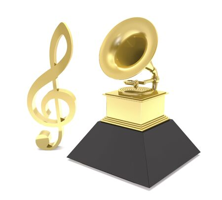Treble clef sign and statuette of a golden gramophone on white background (3d ilustration).