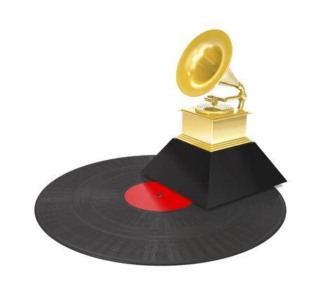 Vinyl record and premium golden gramophone on white background (3d illustration).