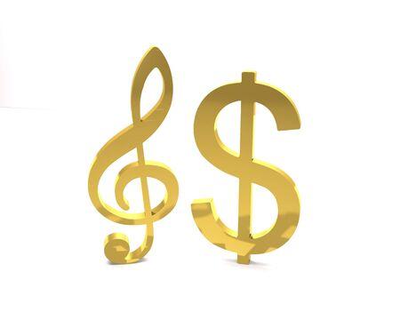 Golden dollar and treble clef symbols as show business concept on a white background (3d illustration). Standard-Bild