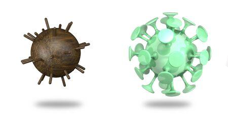 Mine and coronavirus on white background (3d illustration).