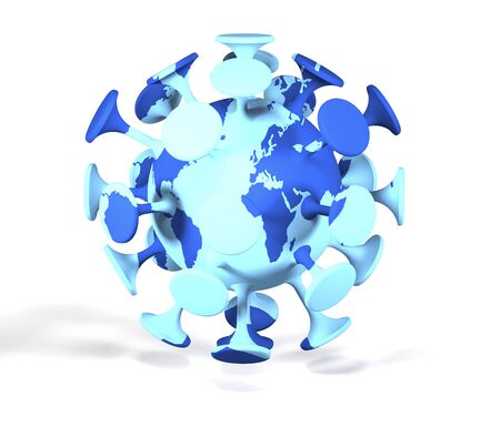 Coronavirus bacterium and world map on white background as warning concept (3d illustration).