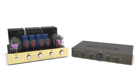 Modern and vintage power amplifiers  are on white background (3d illustration).