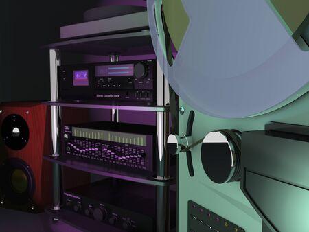 Vintage audio equipment - tape recorder, amplifier, equalizer, turntable, loudspeaker are in recording studio (3d illustration). Standard-Bild