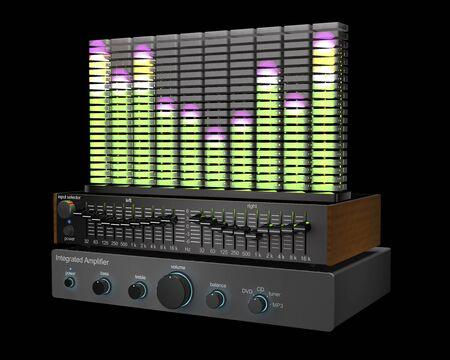 Vintage audio equipment - amplifier, equalizer and spectrum analyser are in dark recording studio (3d illustration).
