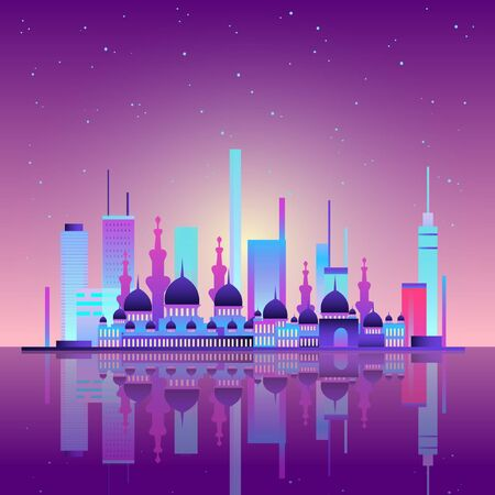 Vector background with night city illuminated with neon glowing lights. Muslim culture, Arabic or Turkish urban concept. Cityscape with big mosque and minarets, modern buildings, high skyscrapers.