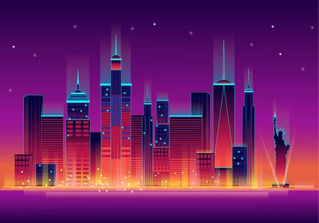 Night new york city with statue of liberty backlit in neon, vector illustration. 向量圖像