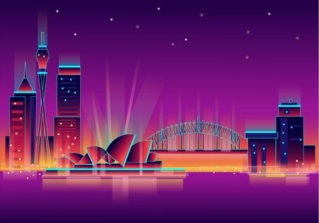 Vector illustration, inspired by 80s disco music, 3d background, neon, Sydney, Australia at sunset, theater. Vector illustration.