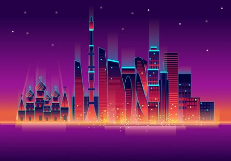 Vector illustration of glowing Moscow city neon skyline reflecting in the river at night
