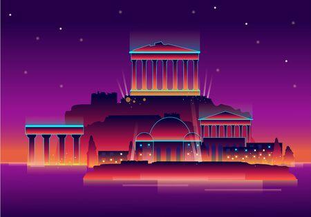 Parthenon temple on the Acropolis of Athens,Greece. Çizim
