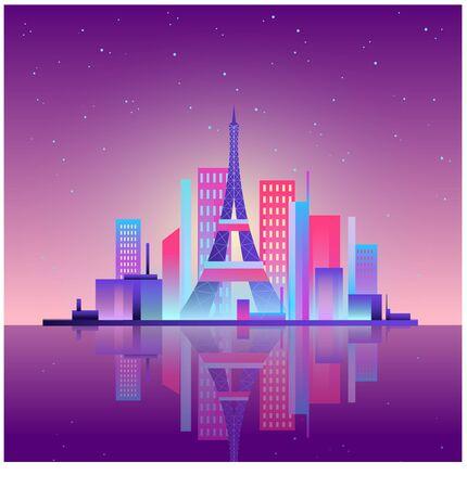 Paris made in neon, beautiful city, flat illustration. EPS 10.