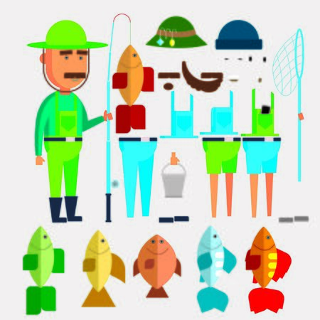 Fishing vector flat style design illustration. Fisher vest and hat, fishing rod, bobber, fish and bait worm. Fisherman clothing and fishing gear composition for web banner, website page etc