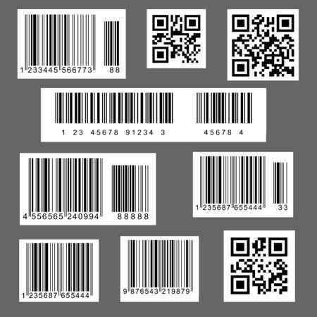 Ilustracja wektorowa kodów kreskowych i kodów QR, używanych w supermarketach i sklepach, ma sens przemysłowy.